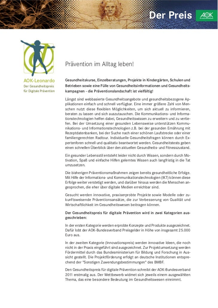 Der Preis                          Prävention im Alltag leben!AOK-Leonardo              Gesundheitskurse, Einzelberatungen...