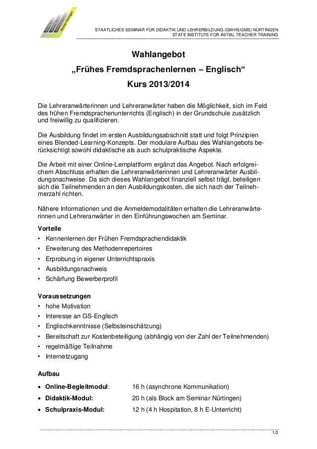 Wahlangebot Frühes Fremdsprachenlernen Englisch