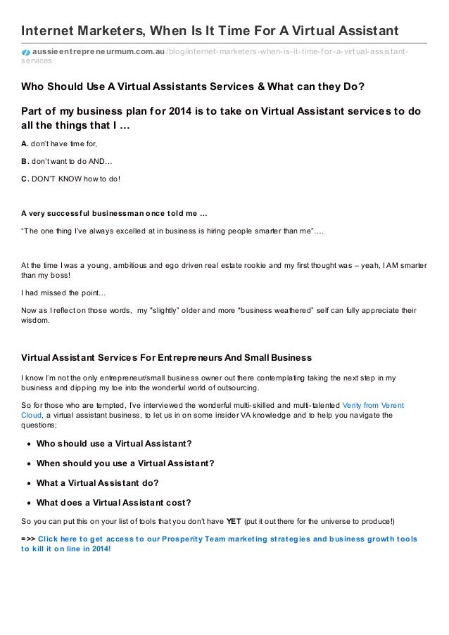 Internet Marketers When Is It Time For A Virtual Assistant - Virtual assistant business plan template