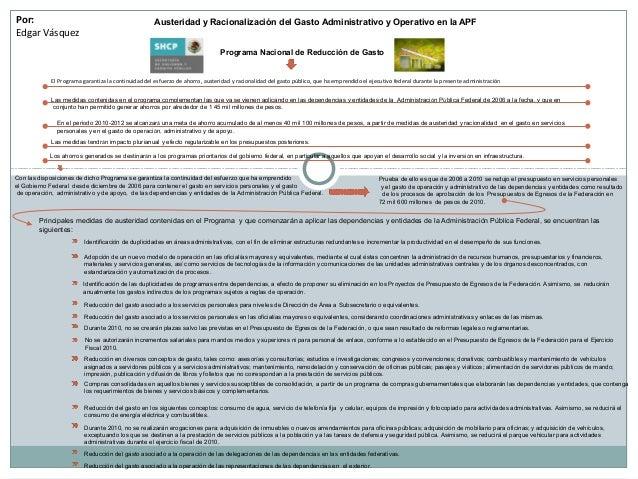 Por: Edgar Vásquez Austeridad y Racionalización del Gasto Administrativo y Operativo en la APF Programa Nacional de Reducc...