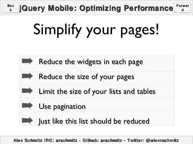 jQuery Mobile: Optimizing Perfromance