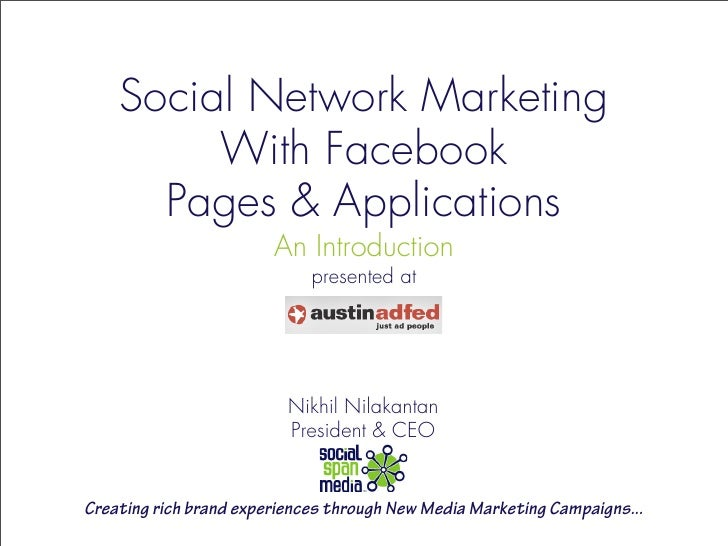 Social Network Marketing          With Facebook       Pages & Applications                         An Introduction        ...