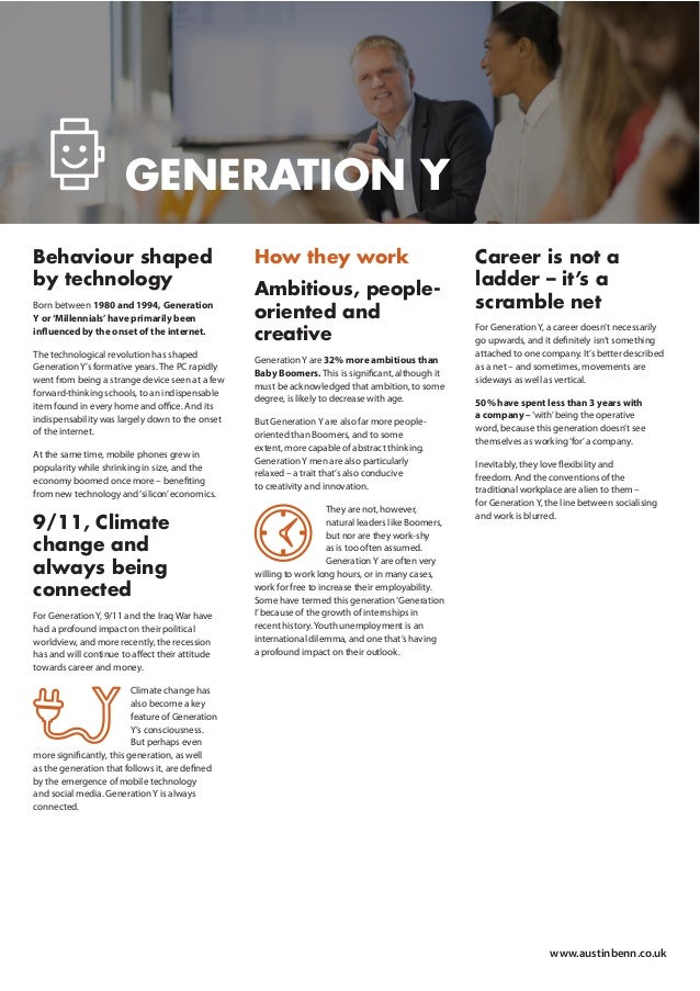 Behaviour shaped by technology Born between 1980 and 1994, Generation Y or'Millennials'have primarily been influenced by th...
