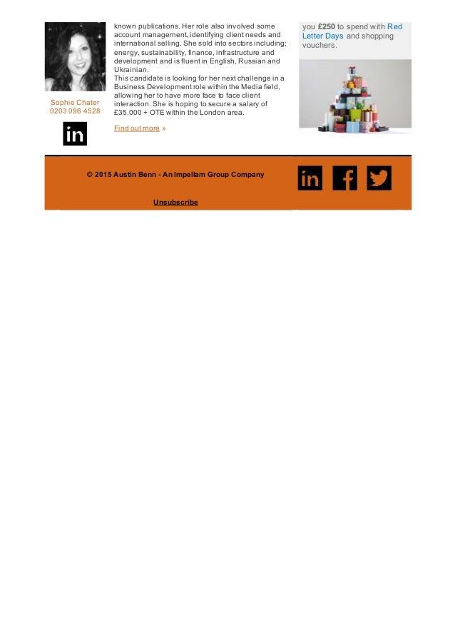 SophieChater 02030964528 knownpublications.Herrolealsoinvolvedsome accountmanagement,identifyingclientneedsa...