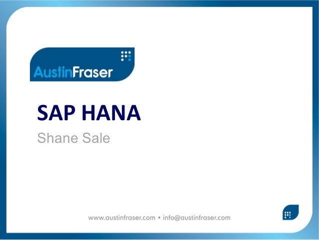 SAP HANAShane Sale