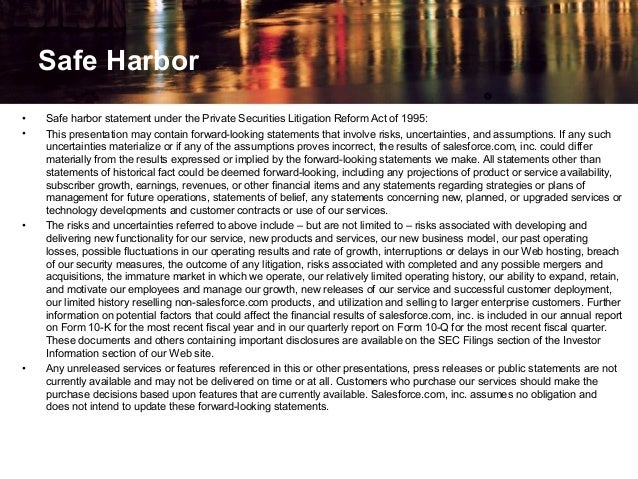 • Safe harbor statement under the Private Securities Litigation Reform Act of 1995: • This presentation may contain forwar...