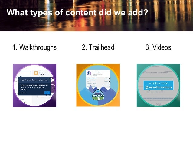 What types of content did we add? 1. Walkthroughs 2. Trailhead 3. Videos