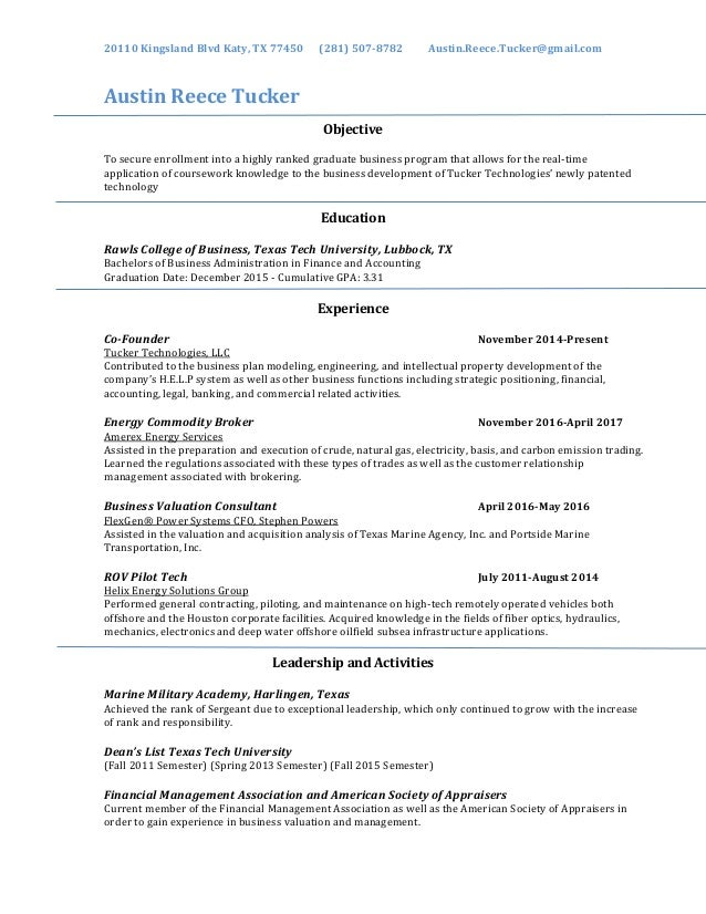 Austin Tucker\'s Resume PDF