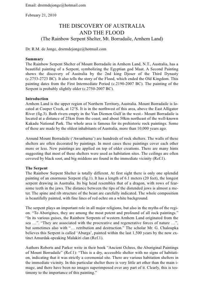 Email: drsrmdejonge@hotmail.com  February 21, 2010                       THE DISCOVERY OF AUSTRALIA                       ...