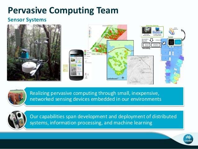 Pervasive Computing Team Sensor Systems Realizing pervasive computing through small, inexpensive, networked sensing device...
