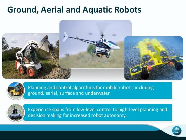 Ground, Aerial and Aquatic Robots Planning and control algorithms for mobile robots, including ground, aerial, surface and...