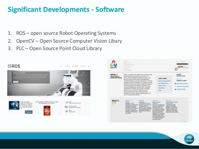 Significant Developments - Software 1. ROS – open source Robot Operating Systems 2. OpenCV – Open Source Computer Vision L...