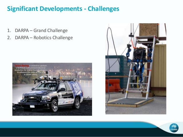 Significant Developments - Challenges 1. DARPA – Grand Challenge 2. DARPA – Robotics Challenge