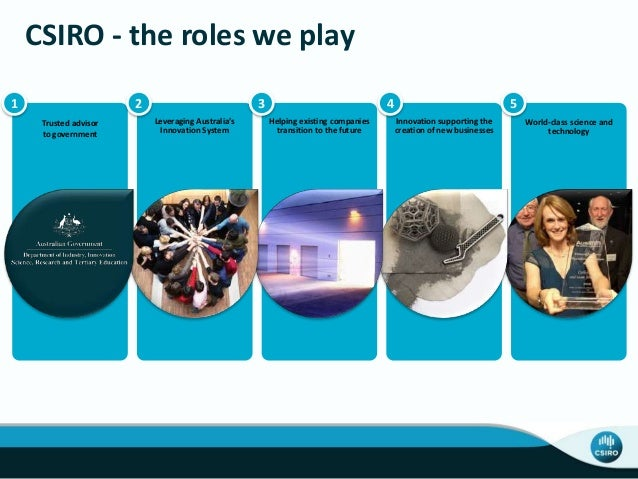 World-class science and technology CSIRO - the roles we play Trusted advisor to government Leveraging Australia's Innovati...