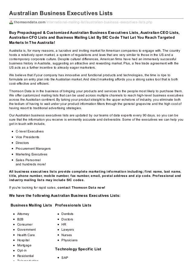 Australian Business Executives Lists thomsondata.com /international-mailing-list/australian-business-executives-lists.php ...