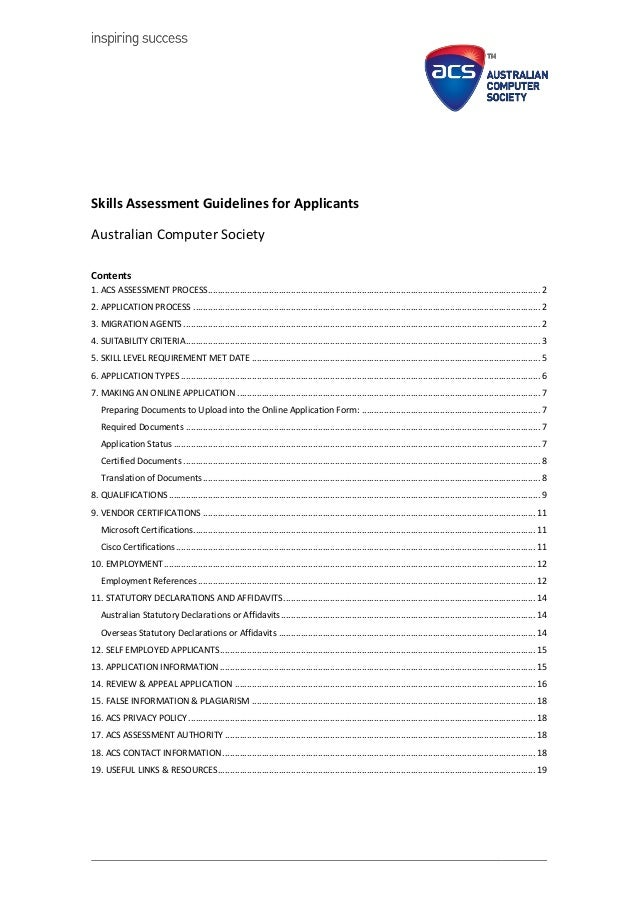 acs skills assessment guidelines for applicants