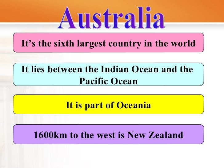 It's the sixth largest country in the world It lies between the Indian Ocean and the  Pacific Ocean It is part of Oceania ...