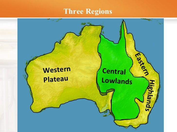 Australia And New Zealand Lesson - Central lowlands map