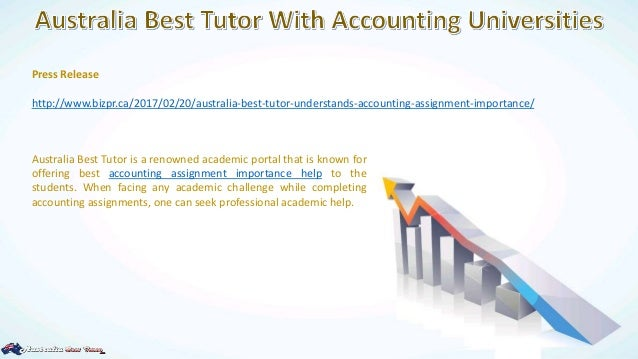 accounting assignment help melbourne Because accountancy is perhaps one of the most complex subjects that have quite a broad area for students to cover every aspect of a business's financial stability and growth, accounting assignment help australia has become increasingly more sought after.