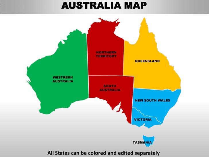 Australia Editable Continent Map With Countries - Australia maps with countries