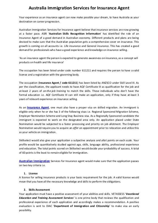 health insurance license australia  Australia Immigration Services for Insurance Agent