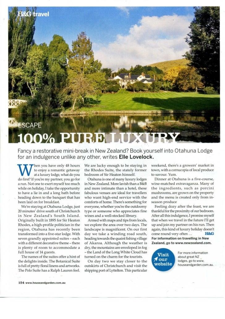 Australian House & Garden July 2009 - Otahuna Luxury Lodge New Zealand