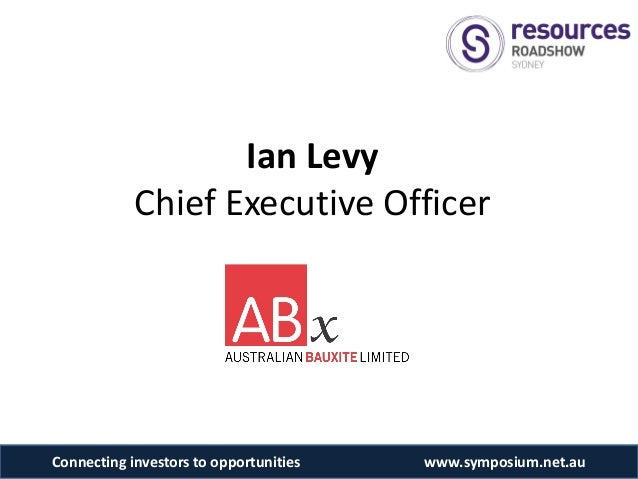 Ian Levy            Chief Executive OfficerConnecting investors to opportunities   www.symposium.net.au