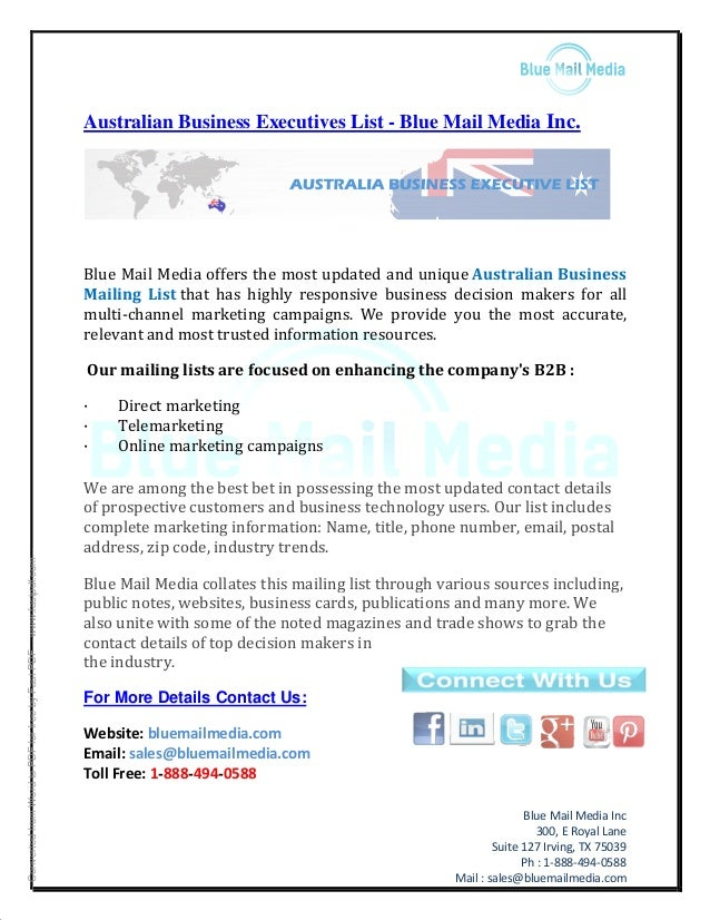 Australian business executives list - Blue Mail Media