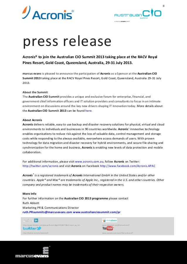 press release Acronis® to join the Australian CIO Summit 2013 taking place at the RACV Royal Pines Resort, Gold Coast, Que...