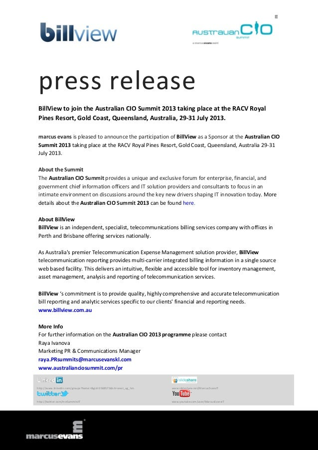 press release BillView to join the Australian CIO Summit 2013 taking place at the RACV Royal Pines Resort, Gold Coast, Que...