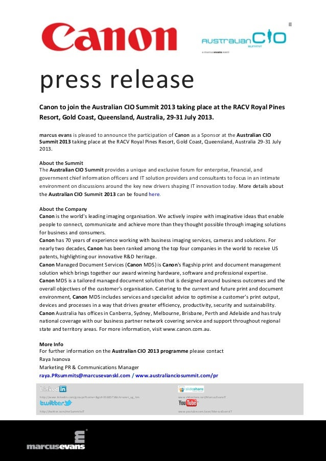 press release Canon to join the Australian CIO Summit 2013 taking place at the RACV Royal Pines Resort, Gold Coast, Queens...