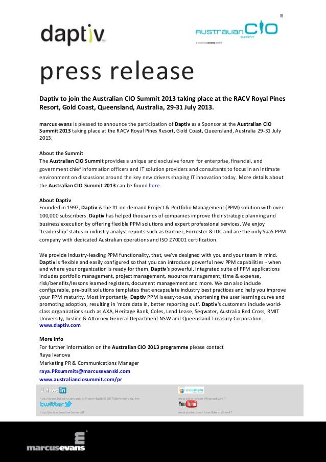 press release Daptiv to join the Australian CIO Summit 2013 taking place at the RACV Royal Pines Resort, Gold Coast, Queen...