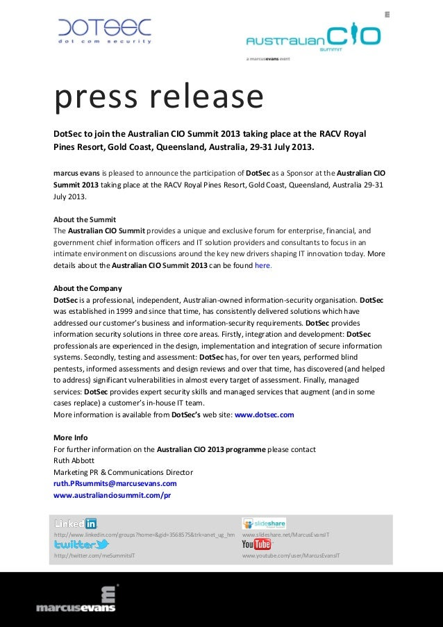 press releaseDotSec to join the Australian CIO Summit 2013 taking place at the RACV RoyalPines Resort, Gold Coast, Queensl...