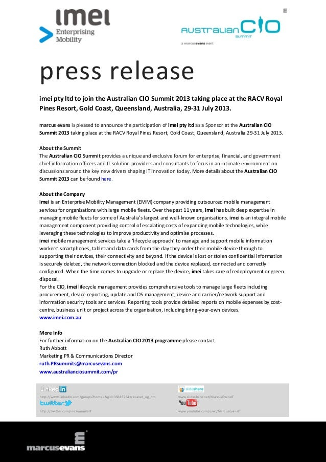 press releaseimei pty ltd to join the Australian CIO Summit 2013 taking place at the RACV RoyalPines Resort, Gold Coast, Q...
