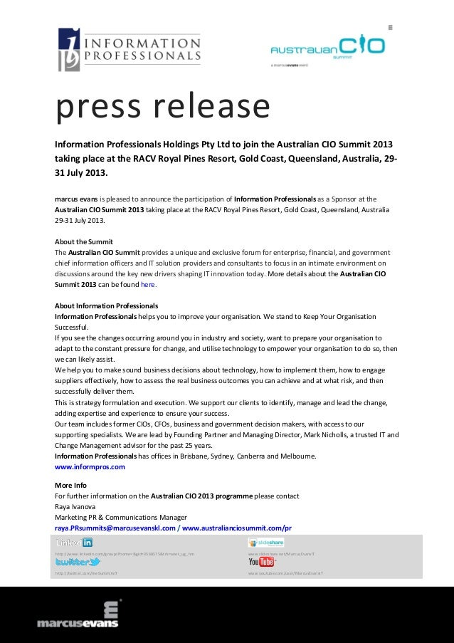 press release Information Professionals Holdings Pty Ltd to join the Australian CIO Summit 2013 taking place at the RACV R...