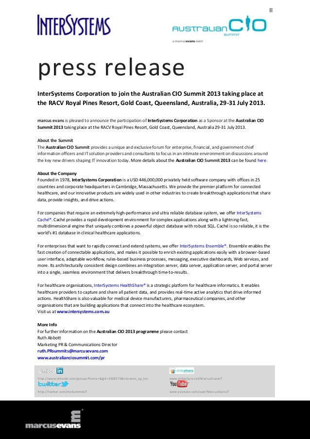 press releaseInterSystems Corporation to join the Australian CIO Summit 2013 taking place atthe RACV Royal Pines Resort, G...