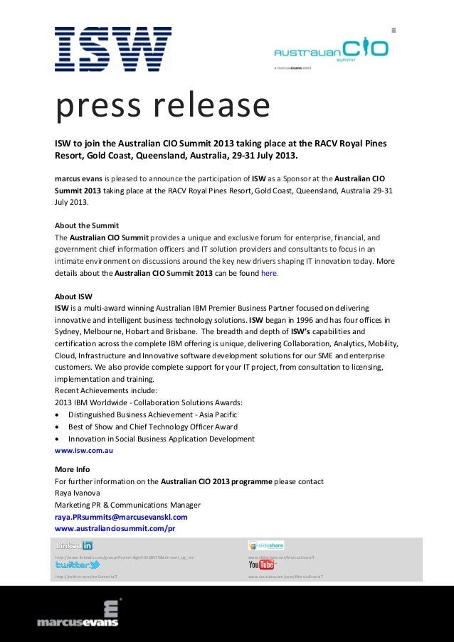 press release ISW to join the Australian CIO Summit 2013 taking place at the RACV Royal Pines Resort, Gold Coast, Queensla...
