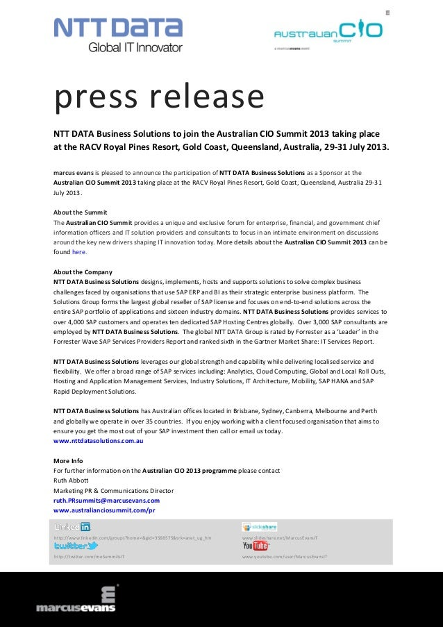 press releaseNTT DATA Business Solutions to join the Australian CIO Summit 2013 taking placeat the RACV Royal Pines Resort...