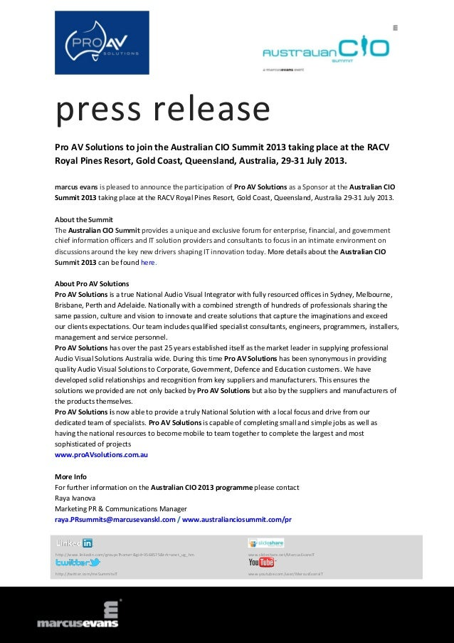 press release Pro AV Solutions to join the Australian CIO Summit 2013 taking place at the RACV Royal Pines Resort, Gold Co...
