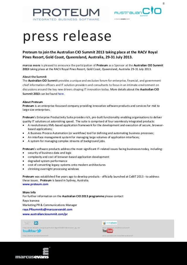 press release Proteum to join the Australian CIO Summit 2013 taking place at the RACV Royal Pines Resort, Gold Coast, Quee...