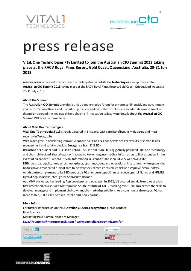 press release VitaL One Technologies Pty Limited to join the Australian CIO Summit 2013 taking place at the RACV Royal Pin...
