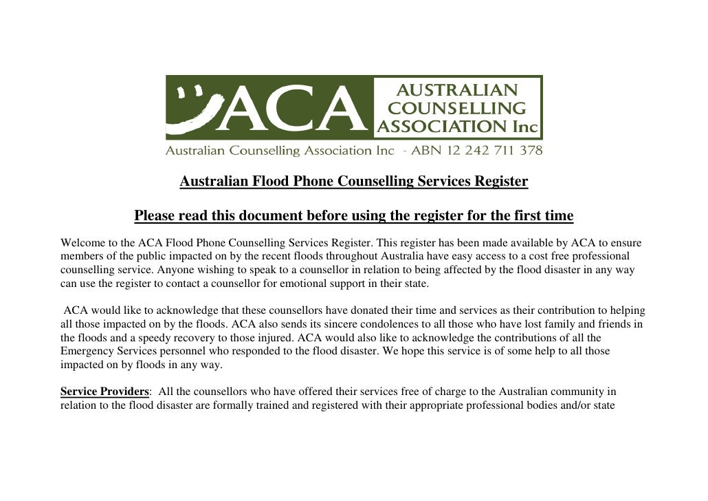 Australian Flood Phone Counselling Services Register                  Please read this document before using the register ...