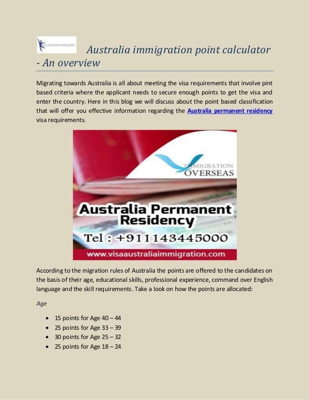 Australian immigration points calculator | points calculator australia.