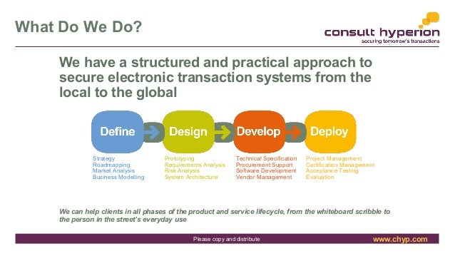 www.chyp.comPlease copy and distribute What Do We Do? We have a structured and practical approach to secure electronic tra...