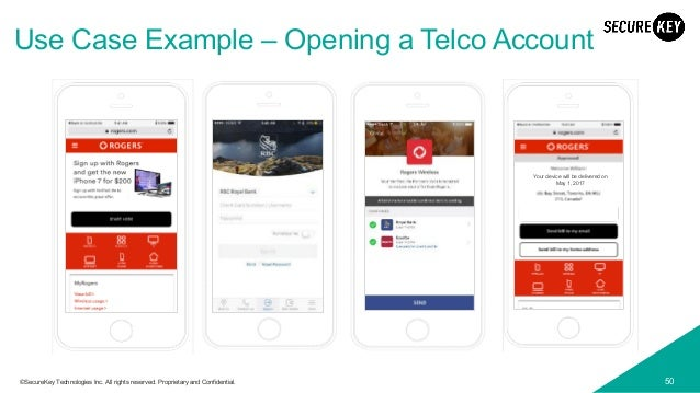 50©SecureKey Technologies Inc. All rights reserved. Proprietary and Confidential. Use Case Example – Opening a Telco Accou...