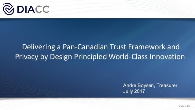 Delivering a Pan-Canadian Trust Framework and Privacy by Design Principled World-Class Innovation Andre Boysen, Treasurer ...