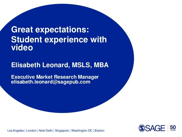 Los Angeles | London | New Delhi | Singapore | Washington DC | Boston Great expectations: Student experience with video El...