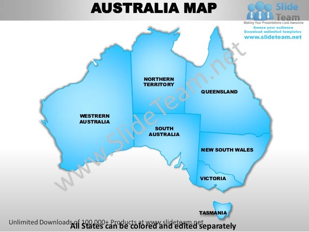 AUSTRALIA MAP                    NORTHERN                    TERRITORY                                     QUEENSLAND  WES...