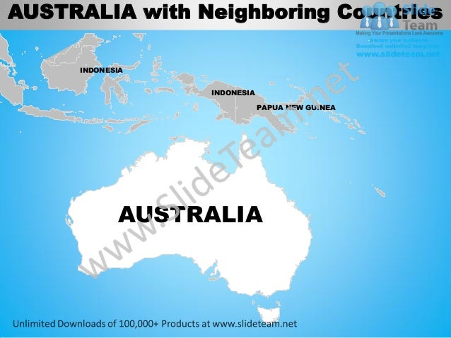 Map Of Australia And Neighbouring Countries.Australia Powerpoint Editable Continent Map With Countries Templates