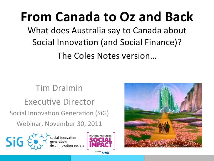 From Canada to Oz and Back        What does Australia say to Canada about         Social Innov...